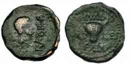 10  -  CALAGURRIS. Augusto. Semis. (post. 29-27 a.C.). A/ Cabeza a der.; delante NASSICA. R/ Cabeza frontal de toro; C. VAL/ C SEX AED-ILES. I-425. RPC-432. Pátina verde. BC+/MBC-.