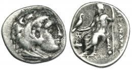 103  -  MACEDONIA. ALEJANDRO III. Abido. Dracma (c. 328-323 a.C.). R/ Delante de Júpiter monograma y prótomo de Pegaso. AR 4,19 g. PRC-1506. Pequeñas concreciones. MBC-/BC+.