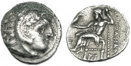 104  -  MACEDONIA. ALEJANDRO III. Colofón. Dracma. R/ Delante del trono monograma y delante S W. AR 4,18 g. PRC-1792. Erosiones en anv. MBC-/MBC.