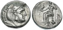 110  -  MACEDONIA. ALEJANDRO III. Tetradracma. Citium (c. 325-320 a.C.). R/ Delante del trono monograma KT y leyenda por debajo del trono poco visible. PRC-3106. MBC-/MBC+.
