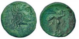 124  -  PELOPONESO. Argos. AE 17 (S. IV-III a.C.). A/ Cabeza de Hera a der. R/ Atenea a izq. AE 3,68 g. BMC p. 144, 106-8. COP- 57-58. Bonita pátina verde. EBC-.