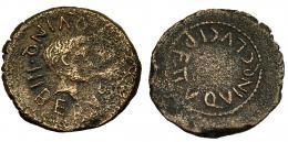 17  -  CARTHAGO NOVA. Augusto. Semis. A/ Cabeza masculina a der. de dios fluvial. R/C. LVCI P.F. II VIR. QVINQ. AE 4,5 g. I-580. RPC-160. BC+/MBC-.