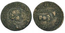 37  -  ERCAVICA. Calígula. As (37-41 d.C.). A/ Cabeza laureada a der. R/ Toro mitrado a der.; MVN sin nexo. I-1286. RPC-465. Erosiones. BC+/MBC.