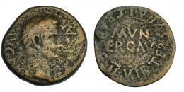 38  -  ERCAVICA. Calígula. Semis (37-41 d.C.). A/ Cabeza laureada a izq.; C CAESAR AVG PP. R/ MVN/ ERCAV rodeado por TER SVRA L GRACILE II VIR. I-1290. RPC-467. BC/BC+. Muy escasa.