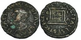 45  -  ILICI. Tiberio. Semis (14-37 d.C.). A/ Cabeza a izq. R/ Altar con SAL/AVG. I-1526. RPC-197. Cloruro en anv. MBC/MBC+.