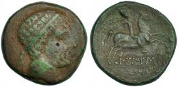 51  -  LAIESKEN. As. A/ Cabeza masculina diademada a der. R/ Jinete con palma a der.; debajo sobre línea LAIESKeN. CNH-1. I-1660. ACIP-1324. Pátina verde. MBC-/MBC. Rara.