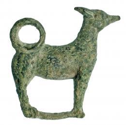 718  -  ROMA. Imperio Romano. Bronce. Figura exenta de perro. Altura: 4,0 cm. Procedente de colección privada española años 1970-80.