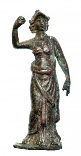 721  -  ROMA. Imperio Romano. Bronce. Figura exenta de Atenea. Altura: 8,3 cm. Procedente de colección privada española años 1970-80.