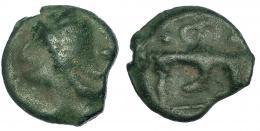 99  -  GALIA. Leucos. Potin (c. 100 a.C.). A/ Cabeza con casco a izq. R/ Toro embistiendo a der.; encima lirio. LT-9155. BLA-No. SBG-143. BC+.
