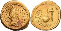 1  -  C.IULIUS CAESAR AND A. HIRTIUS. Aureus. AV 8.12 g. C CAESAR – COS TER Veiled head of Vesta r. Rev. A·HIRTIVS·P·R Lituus, jug and axe. Struck on a very broad flan and with a superb reddish tone. Good extremely fine