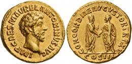 100  -  MARCUS AURELIUS CAESAR. Aureus. AV 7.34 g. IMP CAES M AVREL ANTONINVS AVG Bare head r. Rev. CONCORDIAE AVGVSTOR TR P XV M. Aurelius and L. Verus standing, facing each other with clasped hands; M. Aurelius holds roll. In exergue, COS III. Minor marks, otherwise about extremely fine.