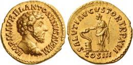101  -  MARCUS AURELIUS AUGUSTUS. Aureus.  AV 7.35 g. IMP M AVREL ANTONINVS AVG P M Bare-headed and cuirassed bust r. Rev. SALVTI AVGVSTOR TR P XVI Salus standing l., feeding out of patera in r. hand snake coiled around altar and holding transverse sceptre in l., in exergue, COS III. C 559 var. (also draped). BMC p. 410, * var. (also draped). RIC 56 var. (also draped). Calicó 1911 (this coin). Good extremely fine.