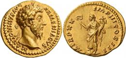 103  -  MARCUS AURELIUS AUGUSTUS. Aureus. AV 7.30 g. M ANTONINVS AVG – ARMENIACVS Laureate head r. Rev. P M TR P XX – IMP III COS III Felicitas standing facing, head l. with r. foot on globe, holding caduceus in r. hand and cornucopia in l. A superb portrait of fine style, an unobtrusive area of flatness on obverse, otherwise virtually as struck and almost Fdc.