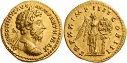 104  -  MARCUS AURELIUS AUGUSTUS. Aureus. AV 7.26 g. M ANTONINVS AVG – ARM PARTH MAX Laureate and cuirassed bust r. Rev. TR P XX IMP IIII COS III Victory standing facing, head r., holding palm branch in r. hand and fixing to a palm tree a shield inscribed VIC / PAR. Perfectly struck and centred on a full flan. Virtually as struck and almost Fdc.