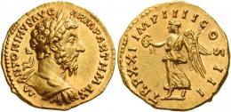 105  -  MARCUS AURELIUS AUGUSTUS. Aureus. AV 7.29 g. M ANTONINVS AVG – ARM PARTH MAX Laureate and cuirassed bust r. Rev. TR P XXI IMP IIII COS III Victory advancing l., holding wreath and palm branch. C 883 var. (also draped). Virtually as struck and almost Fdc.