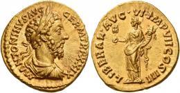 108  -  MARCUS AURELIUS AUGUSTUS. Aureus.  AV 7.32 g. M ANTONINVS AVG – GERM TR P XXIX Laureate, draped and cuirassed bust r. Rev. LIBERAL AVG VI IMP VII COS III Liberalitas standing l., holding abacus in r. hand and cornucopia in l. Virtually as struck and almost Fdc.