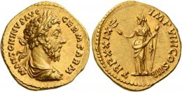109  -  MARCUS AURELIUS AUGUSTUS. Aureus. AV 7.27 g. M ANTONINVS AVG – GERM SARM Laureate, draped and cuirassed bust r. Rev. TR P XXIX – IMP VIII COS III Felicitas standing facing, head l., holding caduceus in r. hand and vertical sceptre in l. A lovely portrait struck in high relief and a light reddish tone. Virtually as struck and almost Fdc.