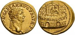 11  -  CLAUDIUS. Aureus.  AV 7.82 g. [TI CL]AVD CAESAR·AVG P M T·R·P IIII Laureate head r. Rev. IMPER RECEPT inscribed on praetorian camp, at the door of which stands Claudius with a standard. Very rare and in superb condition for this interesting issue. A bold portrait and a finely detailed reverse composition, slightly off-centre, otherwise virtually as struck and almost Fdc.
