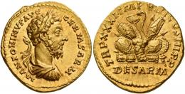 110  -  MARCUS AURELIUS AUGUSTUS. Aureus. AV 7.22 g. M ANTONINVS AVG – GERM SARM Laureate, draped and cuirassed bust r. Rev. TR P XXXI IMP VIII COS III P P Pile of arms; in exergue, DE SARM. Extremely rare and in exceptional condition for the issue, undoubtedly one of the finest specimens known of this intriguing issue. Virtually as struck and almost Fdc.