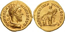 111  -  MARCUS AURELIUS AUGUSTUS. Aureus. , AV 7.33 g. M AVREL ANTO – NINVS AVG Laureate, draped and cuirassed bust r. Rev. TR P XXXII IMP – VIIII COS III P P Annona, draped and diademed, standing l., holding cornucopia and two ears of corn over modius filled with ears of corn and a poppy-head; on r., prow of ship. A bold portrait and a finely detailed reverse composition. Virtually as struck and almost Fdc.