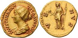 113  -  FAUSTINA II. Aureus. AV 7.28 g. FAVSTINA AVG – VSTA AVG P II FIL Draped bust l., hair coiled at back of head. Rev. VE – NVS Venus standing facing, head l., holding apple in r. hand and sceptre in l. An unusual portrait struck in high relief and a superb reddish tone. Almost invisible marks, otherwise extremely fine.