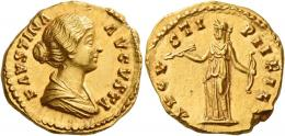 115  -  FAUSTINA II. Aureus. AV 7.19 g. FAVSTINA – AVGVSTA Draped bust r., hair coiled at back of head. Rev. AVGV – STI – PII FIL Diana standing l., holding bow and arrow. Struck on an irregular flan, otherwise virtually as struck and almost Fdc.