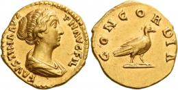 116  -  FAUSTINA II. Aureus. AV 7.27 g. FAVSTINA AVG – PII AVG FIL Draped bust r., hair coiled at back of head. Rev. CONCORDIA Dove standing r. Struck in high relief and extremely fine.