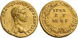 12  -  CLAUDIUS. Aureus. AV 7.79 g. TI CLAVD CAESAR·AVG P·M·TR·P·VIIII IMP·XVI Laureate head r. Rev. S P Q R / P P / OB CS within oak wreath. Several minor marks, otherwise about extremely fine.