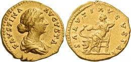 120  -  FAUSTINA II. Aureus. AV 7.23 g. FAVSTINA – AVGVSTA Draped bust r., hair waved and coiled at back of head. Rev. SALVTI AVGVSTAE Salus seated l., feeding out of patera snake twined around altar. Good very fine.