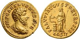 121  -  FAUSTINA II. Aureus. AV 7.26 g. IMP CAES L VERVS AVG Bare-headed, draped and cuirassed bust r. Rev. SALVTI AVGVSTOR TR P III Salus standing l., feeding out of patera snake coiled around altar and holding sceptre. In exergue, COS II. A bold portrait of fine style, virtually as struck and almost Fdc.