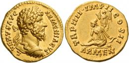 122  -  LUCIUS VERUS. Aureus. AV 7.29 g. ·L·VERVS AVG – ARMENIACVS Laureate and cuirassed bust r. Rev. TR P IIII ·IMP II – COS II Armenia seated l., l. hand resting on bow and quiver; behind, trophy; in exergue, ARMEN. Very rare and in exceptional condition for the issue. Extremely fine / good extremely fine.