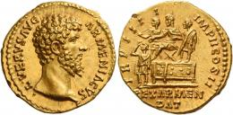 123  -  LUCIUS VERUS. Aureus.  AV 7.23 g. ·L·VERVS AVG – ARMENIACVS Bare head r. Rev. TR P IIII – IMP II COS II Lucius Verus seated l. on platform; behind and before him respectively, officer and soldier. Below platform, king Soahemus standing l. and raising r. hand to his head. In exergue, REX ARMEN / DAT. In an exceptional state of preservation. A perfect Fdc.