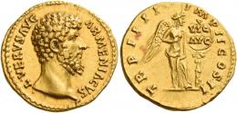 124  -  LUCIUS VERUS. Aureus. AV 7.26 g. ·L·VERVS AVG – ARMENIACVS Bare head r. Rev. TR P IIII – IMP II COS II Victory, half-draped, standing r., placing a shield inscribed VIC / AVG on a palm tree.  Minor area of weakess on obverse and unobtrusive marks, otherwise extremely fine / good extremely fine.