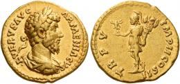 125  -  LUCIUS VERUS. Aureus. AV 7.21 g. L VERVS AVG – ARMENIACVS Laureate, draped and cuirassed bust r. Rev. TR P V – IMP II COS II Roma standing l., holding Victory and trophy. Good very fine.