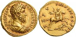 126  -  LUCIUS VERUS. Aureus.  AV 7.27 g. L VERVS AVG – ARM PARTH MAX Laureate, draped and cuirassed bust r. Rev. TR P V – IMP III COS II Emperor, in military attire, on horseback r., spearing fallen enemy. A bold portrait and a finely detailed reverse composition. Wonderful reddish tone and extremely fine.