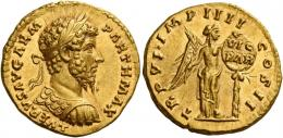 127  -  LUCIUS VERUS. Aureus. AV 7.31 g. L VERVS AVG ARM – PARTH MAX Laureate, draped and cuirassed bust r. Rev. TR P VI IMP IIII – COS II Victory, half-draped, standing r., placing shield inscribed VIC / PAR on a palm tree.  In an exceptional state of preservation. A perfect Fdc.
