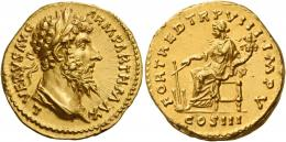 129  -  LUCIUS VERUS. Aureus. AV 7.22 g. L VERVS AVG – ARM PARTH MAX Laureate and draped bust r. Rev. FORT RED TR P VIII IMP V Fortuna seated l., holding rudder in r. hand and cornucopia in l.; in exergue, COS III.  A powerful portrait of excellent style struck in high relief. Virtually as struck and almost Fdc.