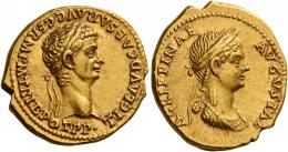 13  -  CLAUDIUS. Aureus.  AV 7.67 g. TI CLAVD CAESAR AVG GERM P M TRIB POT P P Laureate head of Claudius r. Rev. AGRIPPINAE – AVGVSTAE Draped bust of Agrippina r., wearing crown of corn ears. Rare and in unusually fine condition for the issue. Two lovely portraits exceptionally well centred on a full flan. Extremely fine.