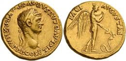 14  -  CLAUDIUS. Aureus.AV 7.79 g. TI CLAVD CAESAR AVG P M TR P XI IMP P P COS V Laureate head r. Rev. PACI – AVGVSTAE Pax-Nemesis, winged, advancing r., spitting into peplos and holding in l. hand caduceus pointed towards serpent moving r. Very rare. Minor marks and two nicks on obverse, otherwise good very fine / about extremely fine