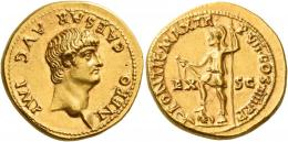 16  -  NERO CAESAR. Aureus. AV 7.32 g. NERO CAESAR·AVG IMP Bare head r. Rev. PONTIF MAX TR – P VII COS IIII P·P Virtus, helmeted and in military attire, standing l., holding parazonium and sceptre; r. foot on pile of arms; at his sides, EX – SC. Rare. Struck in high relief on a very broad flan. Virtually as struck and almost Fdc.