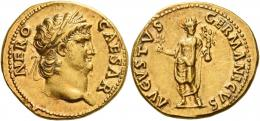 17  -  NERO AUGUSTUS. Aureus.  AV 7.35 g. NERO – CAESAR Laureate and bearded head r. Rev. AVGVSTVS – GERMANICVS Nero, radiate, standing facing, holding branch and Victory on globe. A bold portrait and a pleasant light reddish tone. Extremely fine.
