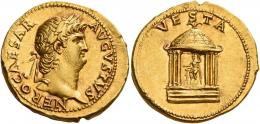 18  -  NERO AUGUSTUS. Aureus. AV 7.36 g. NERO CAESAR – AVGVSTVS Laureate and bearded head r. Rev. VESTA Domed hexastyle temple; within which, statue of Vesta seated facing, holding patera and long sceptre. Very rare and in exceptional condition for the issue.. A portrait of magnificent style and a finely detailed reverse composition perfectly centred on a very broad flan. Superb light reddish tone and virtually as struck and almost Fdc.