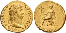 19  -  NERO AUGUSTUS. Aureus.  AV 7.26 g. NERO CAESAR – AVGVSTVS Laureate head r. Rev. Roma seated l. on cuirass, holding Victory in r. hand and parazonium in l.; in exergue, ROMA. Matt surface and several marks, otherwise about extremely fine.