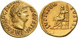 20  -  NERO AUGUSTUS. Aureus.  AV 7.72 g. IMP NERO CAESAR – AVGVSTVS Laureate head r. Rev. IVPPITER – CVSTOS Jupiter seated l., holding thunderbolt and sceptre. A very attactive portrait and a lovely reddish tone and good extremely fine.