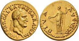 21  -  GALBA. Aureus. AV 7.30 g. IMP SER GALBA CAESAR AVG P M Laureate head r. Rev. DIVA – AVGVSTA Livia standing l., holding patera in r. hand and sceptre in l. Very rare. A bold portrait struck in high relief on a very broad flan, an unobtrusive scratch on reverse field, otherwise extremely fine.