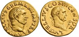 22  -  VITELLIUS. Aureus. AV 7.28 g. A VITELLIVS GERMAN IMP TR P Laureate head of Vitellius r. Rev. L VITELLIVS COS III CENSOR Laureate and draped bust of L. Vitellius r., holding eagle-tipped sceptre. Extremely rare. Two attractive portraits of fine style, several light marks on both obverse and reverse, otherwise about extremely fine / good very fine.