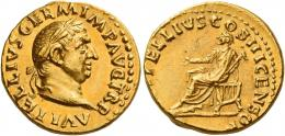 23  -  VITELLIUS. Aureus.  AV 7.28 g. A VITELLIVS GERM IMP AVG TR P Laureate head r. Rev. [L VI]TELLIVS COS III CENSOR Lucius Vitellius, togate, seated l. on curule chair, feet on stool, holding eagle-tipped sceptre in l. hand and extending r. Very rare and in superb condition for this difficult issue. A bold portrait struck in high relief and a lovely light reddish tone. Slightly off-centre on reverse, otherwise good extremely fine.