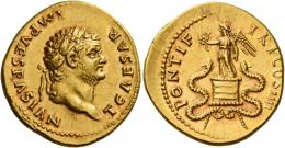 31  -  TITUS CAESAR. Aureus. AV 7.28 g. T CAESAR – IMP VESPASIAN Laureate head r. Rev. PONTIF – TR P COS IIII Victory standing l. on cista mistica, holding wreath in r. hand and palm branch in l.; on either side, coiled snake. A spectacular portrait struck on a very broad flan and a light reddish tone. Virtually as struck and almost Fdc.