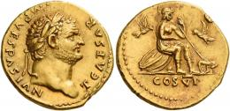 33  -  TITUS CAESAR. Aureus. AV 7.31 g. T CAESAR IMP – VESPASIAN Laureate head r. Rev. Roma seated r. on shields, helmet below, holding spear in l. hand; on either side, a bird; before her, she-wolf with twins and in exergue, COS VI. Lovely light reddish tone, minor marks on reverse and an edge nick at one oclock on reverse, otherwise good extremely fine.