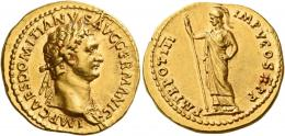 39  -  DOMITIAN AUGUSTUS. Aureus. AV 7.77 g. IMP CAES DOMITIANVS AVG GERMANIC Laureate bust r., wearing aegis. Rev. P M TR POT III IMP V COS X P P Minerva standing l., holding sceptre in r. hand.  Very rare. A spectacular portrait of excellent style struck in high relief and a very elegantly engraved reverse die. Extremely fine.